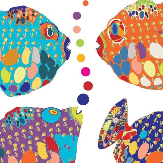 Kids Bathroom Art Fish Print Abstract Art Boy Bathroom Decor