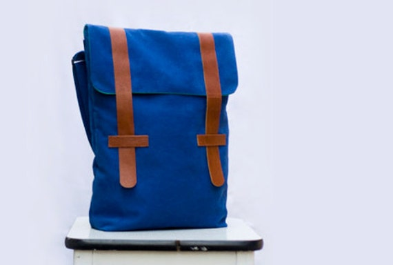Blue Bag with brown leather, green lining, handmade - Peter