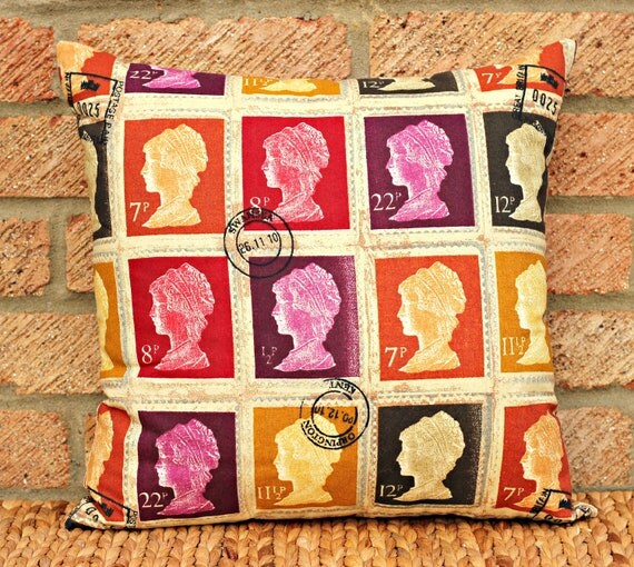 postage stamp throw pillow cover 16 x 16 pillow cover purple. Black Bedroom Furniture Sets. Home Design Ideas