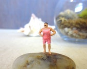 Showin' Off My New Speedo...Terrarium People Funny Miniature Scene Tiny Man Terrarium Accessory Funny Gift Old Fashioned Swimmer