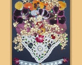 Art Print 019 of Original Collage Floral Luli- Pressed Flower -Floral Art with sequins,stitching,antique lace
