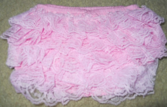 Boutique Style Pink Lace Bloomer (Diaper Cover) - Small
