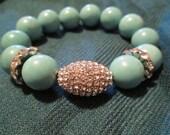 Fancy Turquoise Kandi with Silver Kluster HandKandi Bracelet