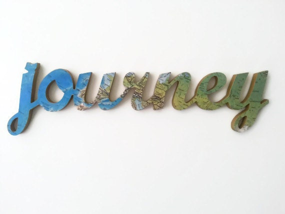 Wooden Words Wall Art : Journey wooden word art customised vintage by