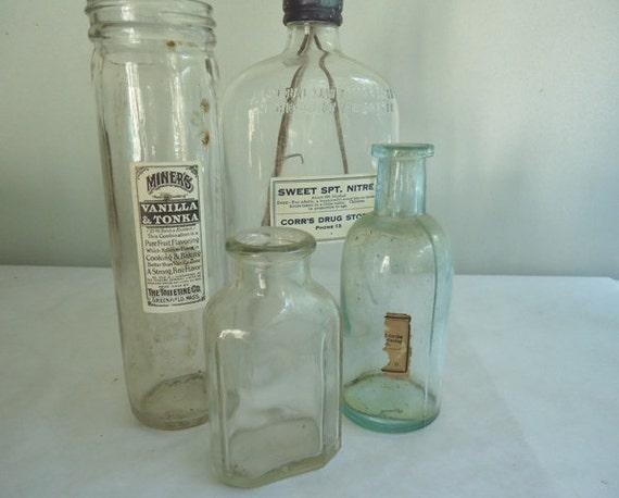 Vintage Apothecary Bottles, Wedding Vases, Reception Decor, Photo Prop