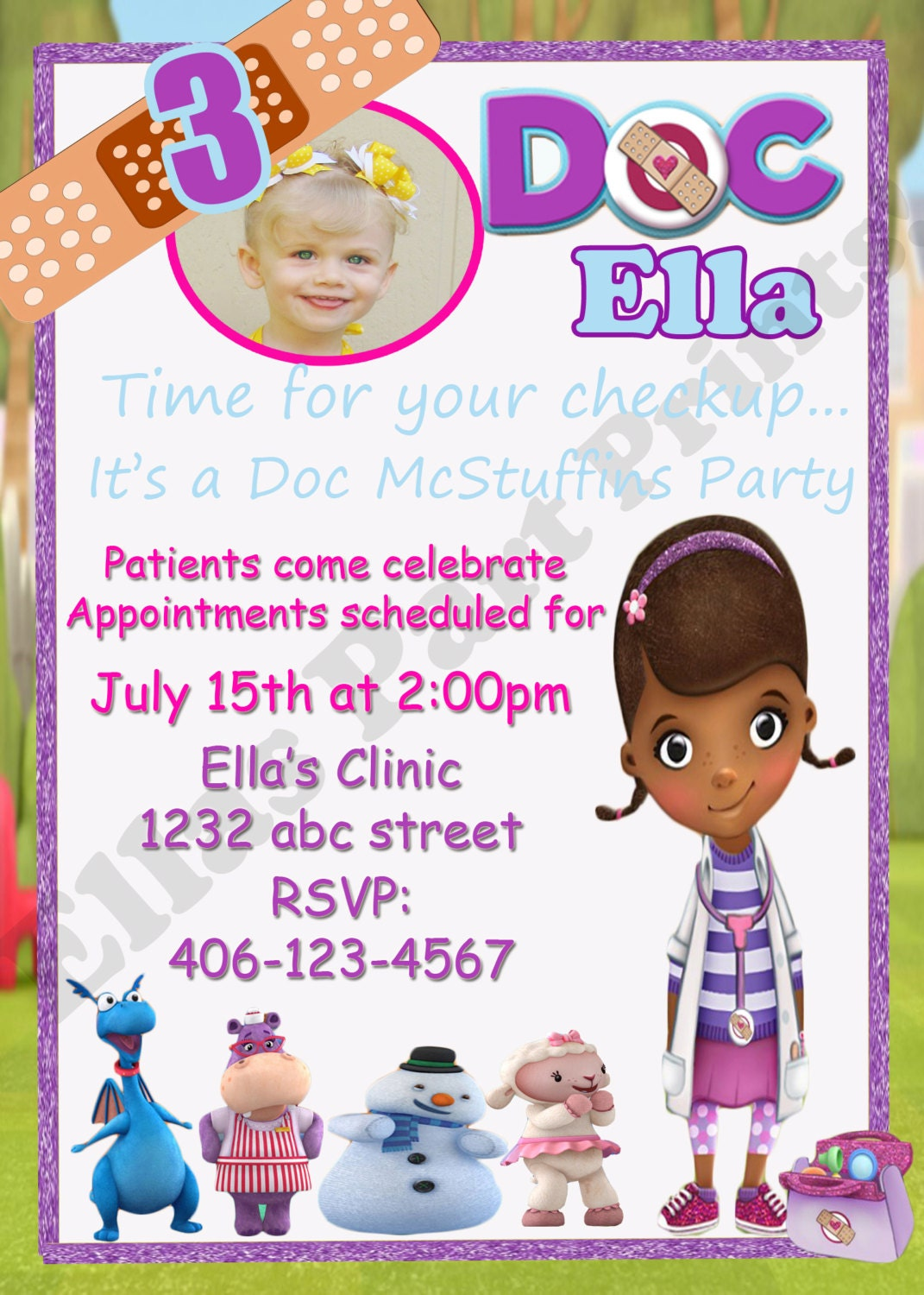 Items similar to Doc Mcstuffins Birthday Invitation on Etsy