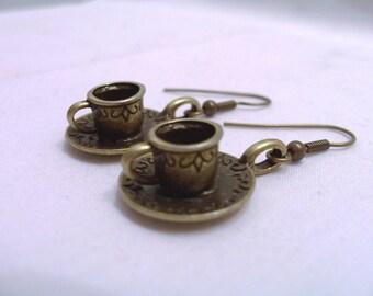 Brass teacup and saucer charm earrings - brass metal earrings - miniature cup and saucer earrings - brass teacup earrings
