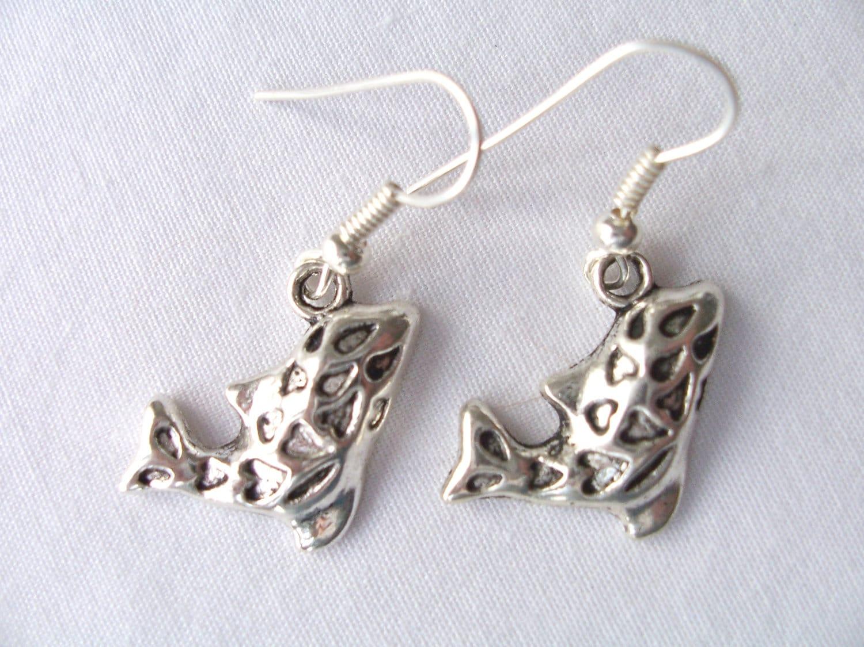 clearance metal whale fish charm earrings whale charm