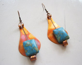 earrings/turquoise earrings/copper earrings/Armenian turquoise earrings/women earrings