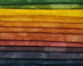 FREE SHIPPING - Hand Dyed Cotton Quilt Fabric - Earthy Blend