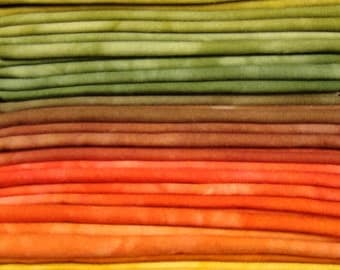 FREE SHIPPING - Hand Dyed Cotton Quilt Fabric - Autumn Blend