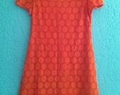 Vintage Orange Retro Mod Dress