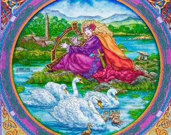 Celtic Art Print The Children Of Lir. The Singing Swans. Signed Open Edition Print 16x11. Fine Art, Fantasy Art, Irish, Ireland, Painting.