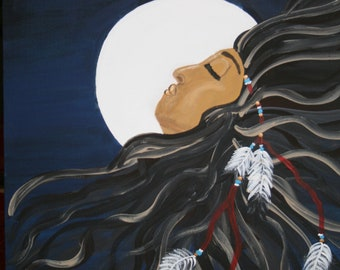 Native American, Inspired  , Moon Maiden,  Original ,Oil painting ,on Canvas Board