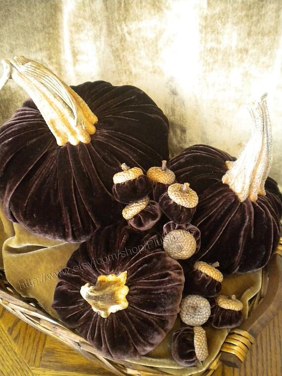 VELVET PUMPKIN & ACORN set - Real Pumpkin Stems and Real Acorn Caps - Dark Brown
