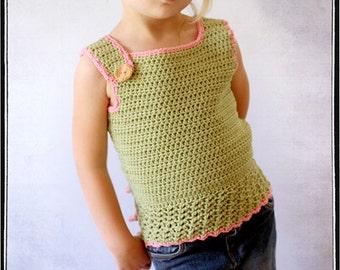 Girls Tanktop Crochet PDF Pattern sizes 12m to 6 by Leila and Ben