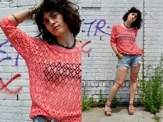 SALE Vintage hot pink sheer 80s CUT OUT punk grunge crochet over size batwing shirt top