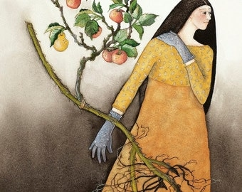 The Girl with Silver Hands (Handless Maiden) - original watercolor painting - Grimms fairytale watercolour - pear apple tree - illustration