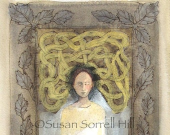 Looking Inward - original watercolor painting - surreal fairytale watercolour - contemplation meditation - labyrinth - vines cocoon woman