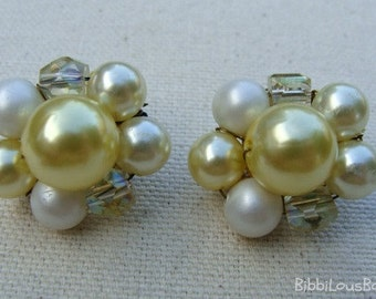 Vintage Clip On Earrings Soft Yellow Japan