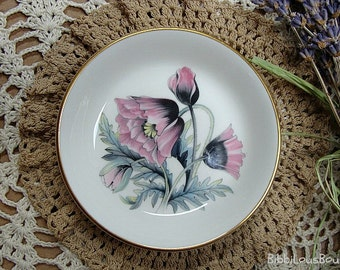 Royal Worcester Butter Pat Poppies England Fine Bone China