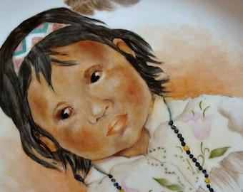 Vintage Handpainted Plate Southwestern Style Child