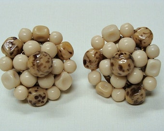 Vintage Cluster Bead Earring Clip On Western Germany
