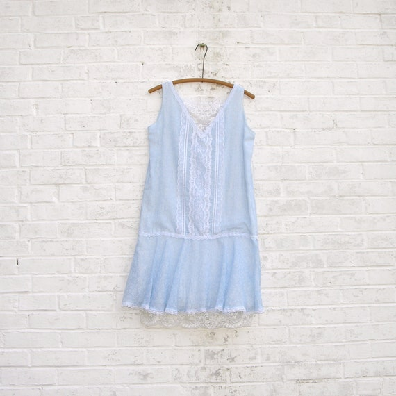 80s Light Blue Jessica McClintock Gunne Sax Dress