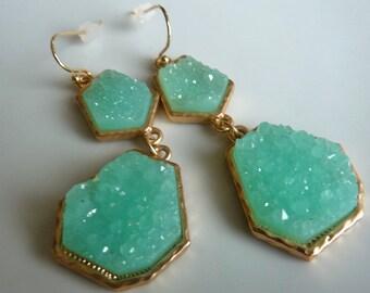 Druzy Drusy Aqua  Seafoam  Mint Gold Bezel Geometric Long Dangle Earrings. Modern Trendy Bridesmaids Gifts For Her 27