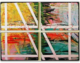 "Original Abstract Paintings- Collection of Four Title ""Sunset in Shangri La"""
