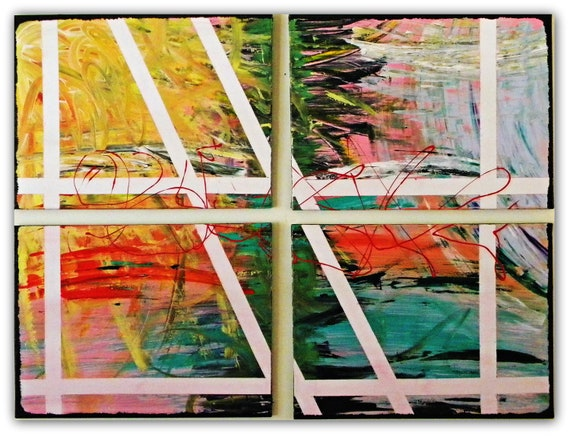 """Original Abstract Paintings- Collection of Four Title """"Sunset in Shangri La"""""""