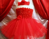 Pick flower, headband & size - Baby girls red chenille Christmas tutu dress