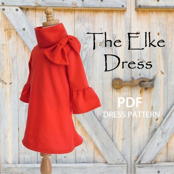 Girls Dress, PDF sewing pattern, Instant Download, Childrens Kids clothing pattern, Stretch Pattern, The Elke Dress