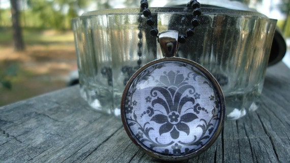Vintage Flowers in Black and White, Glass Pendant