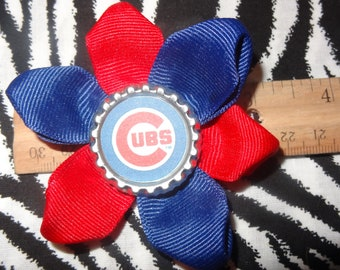 Sporty Bottlecap Baseball Chicago Cubs Hair Bow on Lined Alligator Clip