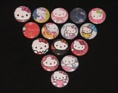 15 Super Cute Rainbow Kitty Flatback or Pinback buttons 1 inch (Set 3)