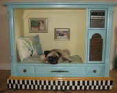 Large Upcycled Pet Bed House from vintage TV