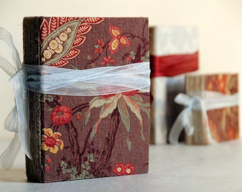 Burgundy Fabric Covered Photo Album or Wedding Guest Book Rustic Baby Photo Book Scrapbook Album