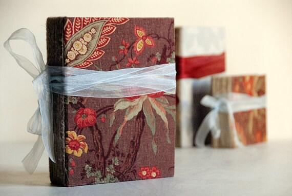 Burgundy Fabric Covered Photo Album or Wedding Guest Book Rustic Baby Photo Book Scrapbook Album