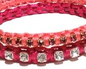pink summer bracelet , 2 stackable bangles set in shades of light pink, hot pink,  sale, free delivery, promotion