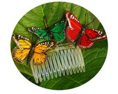 "Butterfly Comb- Three Butterflies in Red, Green & Gold-Whimsical Butterfly Comb-""Butterfly Garden"""