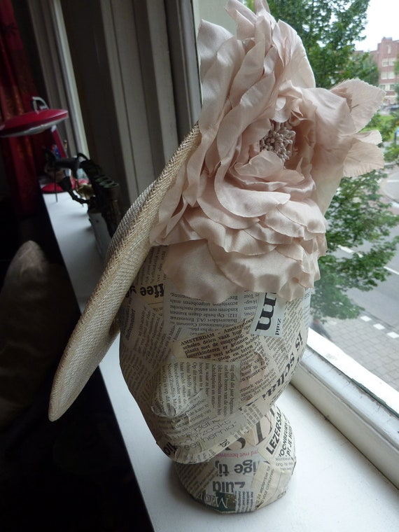 Handmade beige broad-brimmed hat with cream silk flower