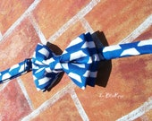 For Crystal: Royal Blue and White Pre tied Bowtie Adjustable with pocket square