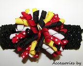 Korker Bow Headband Black Red Polka Dot Yellow Curly Ribbon Girls Baby Infant Accessory Disney Boutique M2M Portrait Pageant Occasion