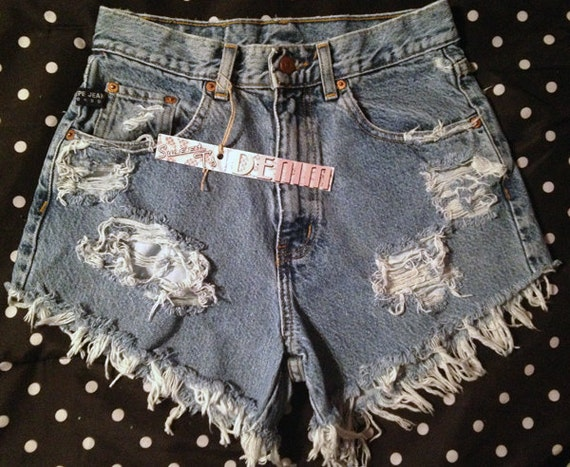 Distressed High Waisted Up-cycled Denim Shorts