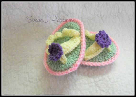 Crochet Pattern - Baby Flip Flop Slippers