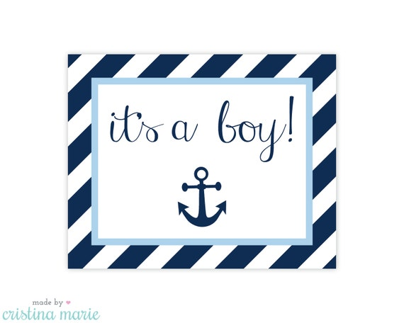 INSTANT DOWNLOAD, nautical baby shower, printable sign, it's a boy by ...