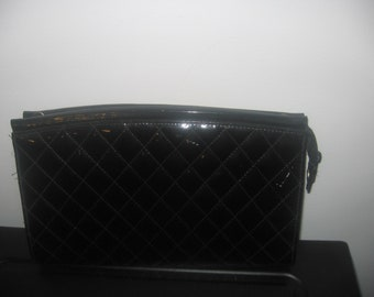 Vintage Black Patent Quilted  Clutch Bag and Purse