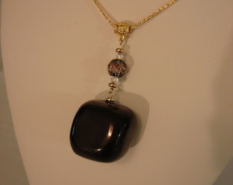 Jet Coal Pendant Necklace