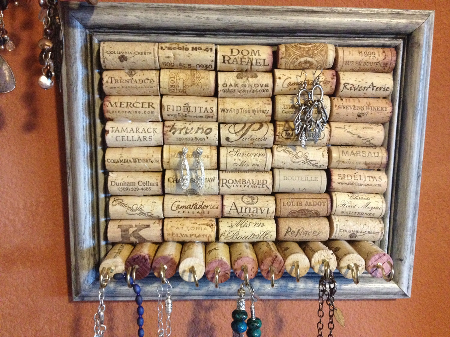 Necklace Jewelry Organizer Wine Corks Distressed Graphite